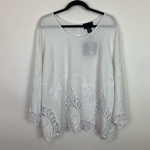 NWT 3x Cynthia Rowley white lace crochet blouse